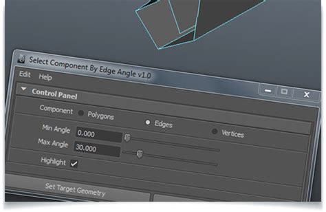 FX Select Component Maya Script For Selecting Edges By Angle