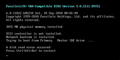 KB Parallels: ERROR: A disk read error occurred when