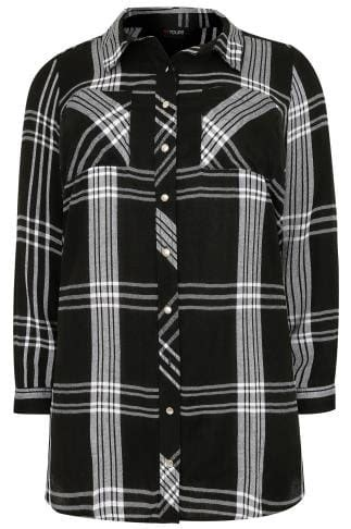 Black & White Checked Longline Boyfriend Shirt With