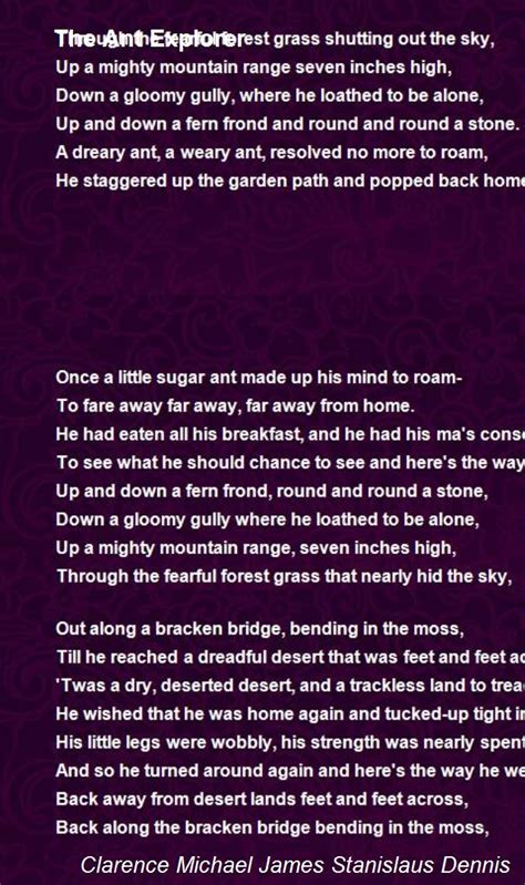 The Ant Explorer Poem by Clarence Michael James Stanislaus